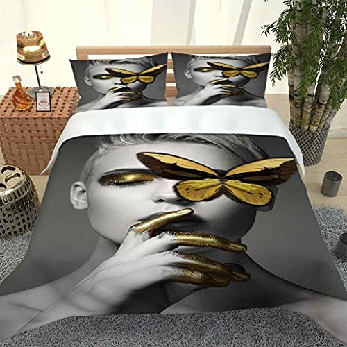 IOCXSO Funda Nórdica Retrato de Mariposa Dorada 3D Colcha Juego De Ropa De Cama de 3 Piezas Fundas De Edredón Nórdico con Cremallera para Cama 90/135/150/180 y 2 Fundas De Almohada 50x75cm