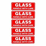300 1x3' Glass Handle with Care Sticker Fragile Glass Labels Printable Fragile Packing Sign