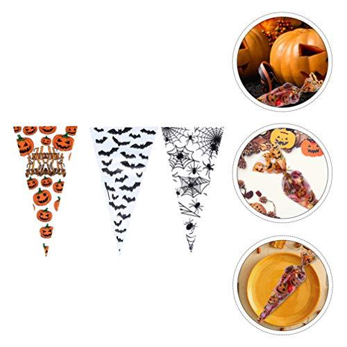 Cabilock 300 Stück Halloween Cellophan Taschen Dreieck Klare Taschen Kürbis Fledermaus Spinnennetz für Halloween Behandeln Süßigkeiten Geschenkbeutel Lieferungen