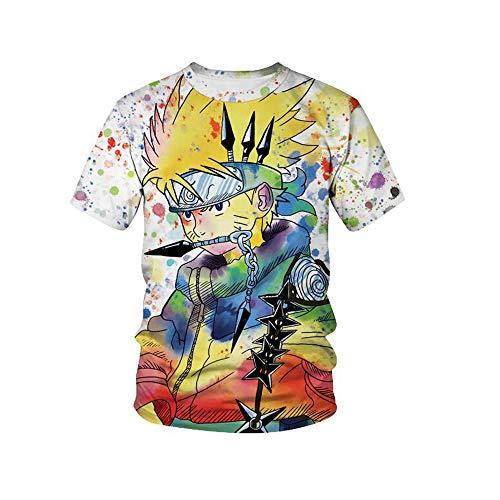 Casual Boys and Girls 3D Anime Kids Shirt Printing Clouds Short Sleeve Tee Shirt (N4, M)