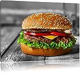 appetitlicher Cheeseburger schwarz/weiß Format: 120x80 auf Leinwand, XXL riesige Bilder fertig gerahmt mit Keilrahmen, Kunstdruck auf Wandbild mit Rahmen, günstiger als Gemälde oder Ölbild, kein Poster oder Plakat