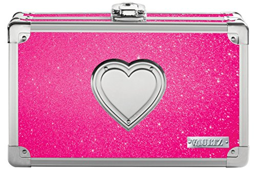 Vaultz Locking Supplies & Pencil Box with Key Lock, 5'x 2.5'x 8.5', Pink Bling with Heart (VZ03708)