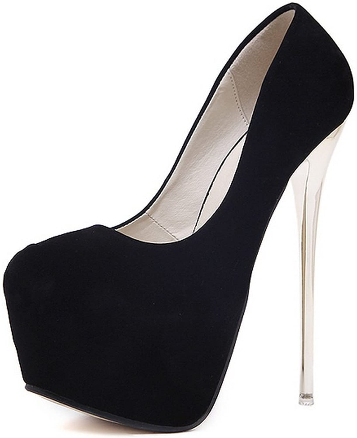 1TO9 Womens Spikes Stilettos Low-Cut Uppers Round-Toe Black Suede Pumps shoes - 7 B(M) US