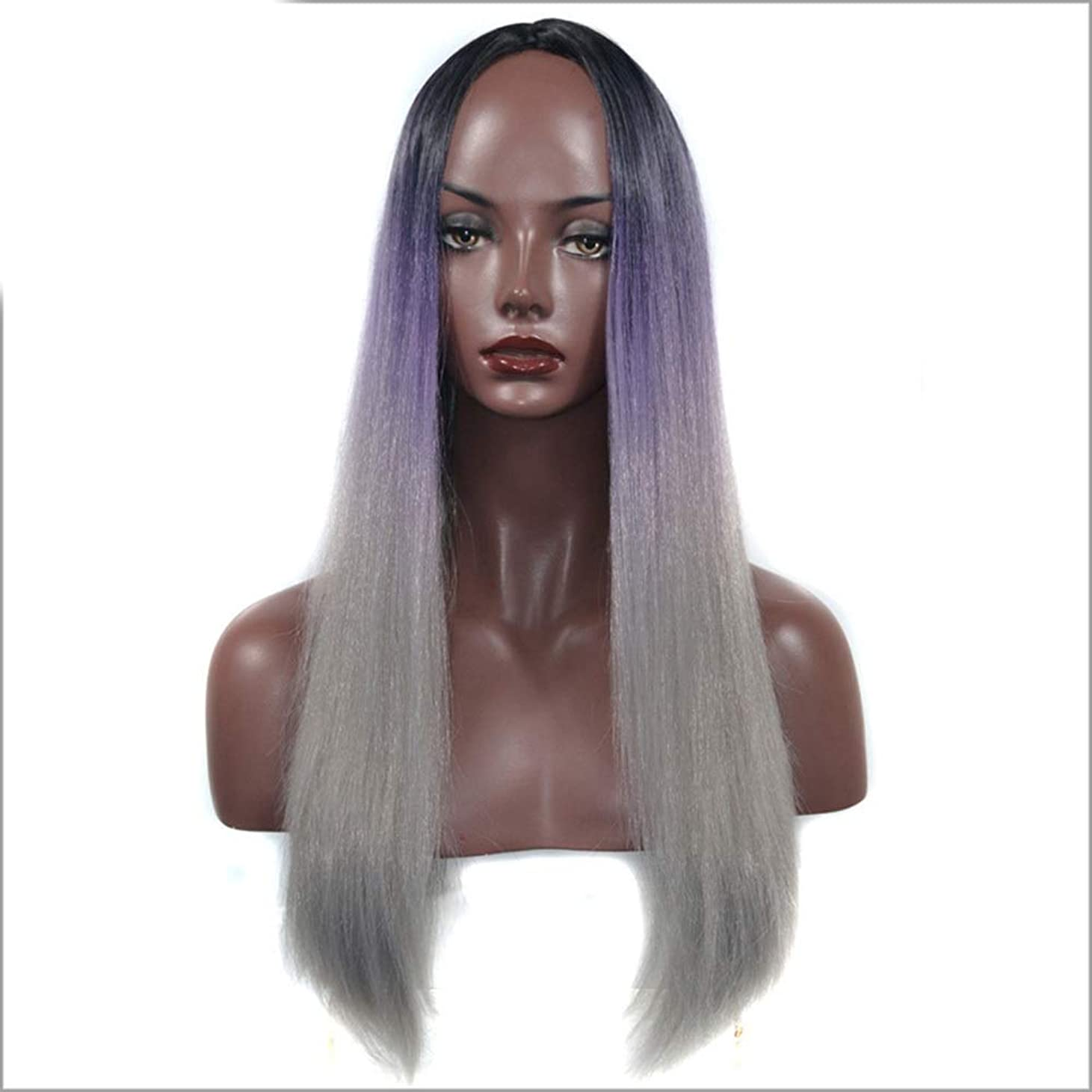 知っているに立ち寄る番号渇きYESONEEP 女性のためのコスプレパーティードレスのための黒の紫色の長いストレートの髪のかつら (Color : Black purple gray, サイズ : 60cm)