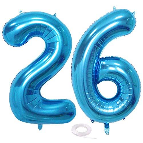 SNOWZAN Luftballon 26. Geburtstag Deko Blau Junge Zahl 26 Riesen Folienballon Helium Nummer 26 Luftballon Große Zahlen 26 Jahre XXL 26. Happy Birthday 32 Zoll Riese Zahl 26Geburtstag für Party