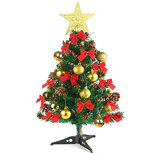 HAOJON 24 Pulgadas / 60 cm Mini árbol de Navidad de Mesa Árbol de Navidad Mini árboles de Pino con Bayas de Acebo Artificiales, piña, Bola de Navidad y Lazos para decoración Accesorios de Aldea de