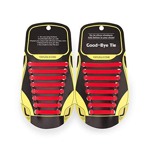 MAROL Elastische Silikon Schnürsenkel – Ohne Binden – Silikonschnürsenkel – Schnürsenkelersatz, Schleifenlose Schuhbänder – Gummischnürsenkel für alle Schuhe – Kinder & Erwachsene (Rot)