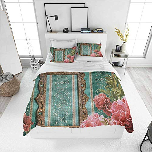 Modern Duvet Cover Vintage,Old Frame with Ornaments and Roses Antique Theme Retro Nostalgic Artwork,Seafoam Dark Coral Best Modern Style Bed Quilt Bed Cover for Men Women (California King)
