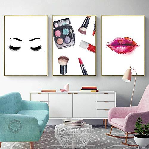 YDGG Mode rode lip oogschaduw make-up muurkunst canvas schilderij poster afdrukken foto's woonkamer salon decor-50x70cmx3 stuks geen lijst
