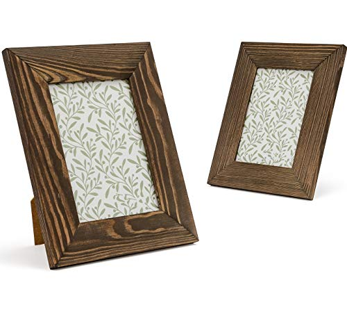 Rustic Wood Frames - Set of 2 - Solid Wood and Real Glass - for Wall or Tabletop Display (Vintage Walnut, 5x7)