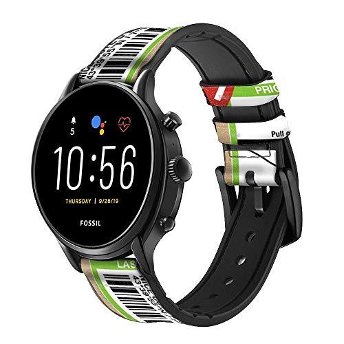 Innovedesire Luggage Tag Art Correa de Reloj Inteligente de Cuero para Fossil Hybrid Smartwatch Nate, Hybrid HR Latitude, Hybrid Smartwatch Machine Tamaño (24mm)