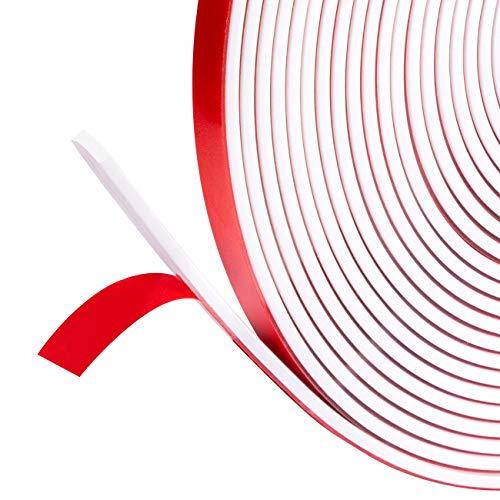 fowong Silicon Dichtungsband für Türen 9mm (B) x2mm (D) x6m(L), Selbstklebende Dichtungsstreifen Autotür Türdichtung Gummidichtung selbstklebend Kantenschutz I-förmig Weiß