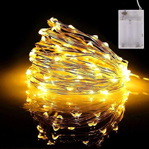 LED Kupferdraht Lichterkette, Batteriebetrieben mit 8Modi, Stimmungslichter Kette, Innen & Außen Beleuchtung für Weihnachtsbaum Kranz Party Schlafzimmer Garten (10m Warmweiß)
