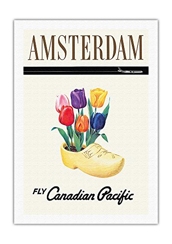 Amsterdam, Holland–Fly Canadian Pacific Air Lines–Canadian Pacific Air Lines Holandeses Tulipanes en un madera de zueco Zapatos–Vieja Sociedad de vuelo–Póster de viaje de impresión, lona, 69cm x 102cm Rolled Leinwand