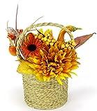 Flair Flower Arrangement aus künstlichen Chrysantheme und Sonnenblumen in Jute-Topf Kunstblume Kunstpflanze Deko Herbstdeko Herbstblumen Seidenblumen Gesteck Tischdeko Halloween Kürbis - 2