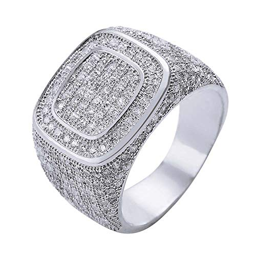 Vergulde Micro-Inlaid Zirkonia Ring, Hiphop CZ Ring Hip-Hop Heren Volledige Diamanten Ring