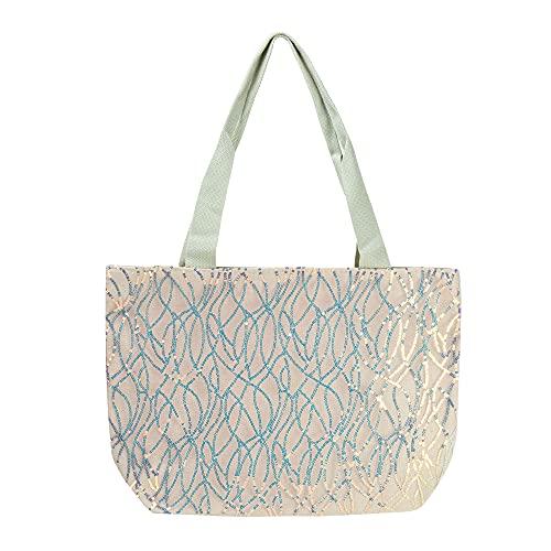 s7 star Bolso de Playa Brillante, Tote Bag Diseño Clasico, con Cremallera. Bolso para Mujer y Niña.