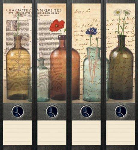 Ordnerrücken breit 4er Set Ordner Bottles Flaschen Ordner Aufkleber Etiketten Deko 041