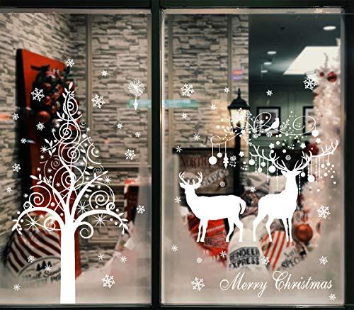 heekpek Weihnachtsfenster Aufkleber Frohe Weihnachten Elch Fensteraufkleber Statische Selbstklebende PVC Aufkleber Weihnachtsdekoration Schneeflockenaufkleber