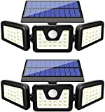 HARMONIC Solar Lights Outdoor, 3 Adjustable Heads 70 LED Solar Motion Sensor Lights Outdoor, IP65 Waterproof Security Lights Motion Outdoor Flood Lights for Front Door,Yard,Garage and Pathway(2 Pack))