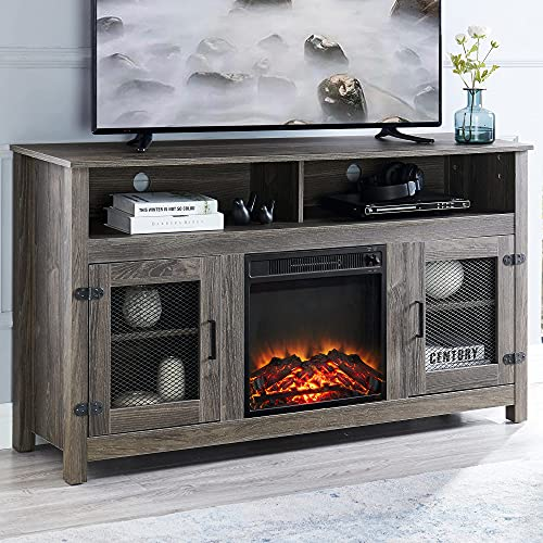 """GOOD & GRACIOUS Modern Tall Farmhouse TV Stand with Electric Fireplace, Fit up to 65"""" Flat Screen TV with Storage Cabinet and Adjustable Shelves Industrial Entertainment Center for Living Room, Grey"""