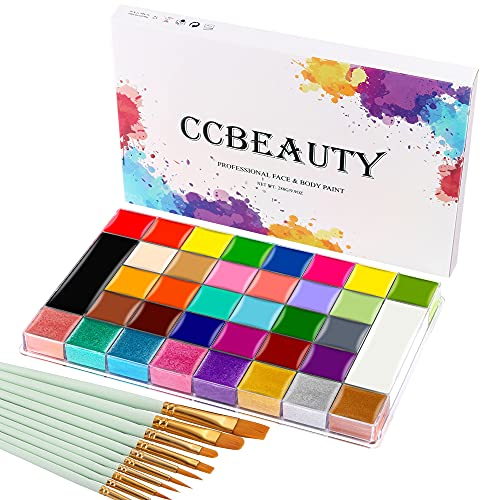 CCbeauty 36 Colors Face Body Paint Oil Professional Flash Non-Toxic Hypoallergenic Halloween Artist Fancy Cosplay Party SFX Face Painting Palette Kit with 10 Green Brushes for Adults and Kids