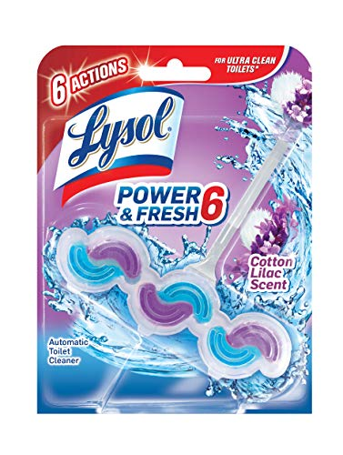 Lysol Power & Fresh 6 Automatic Toilet Bowl Cleaner, Cotton Lilac, 1ct
