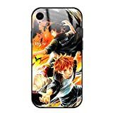 Haikyuu iPhone xr case - Anime Tempered Glass + TPU iPhone case Covers for Boys Kids Men Anime Manga Cute Pattern Mobile Phone Black case Cover for Anime Phone case iPhone xr