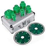 Mophorn Kits de Forage pour Trou de Diamant Set de Scies à Trou Diamanté 20/25/40/45/50 / 68mm avec 2 lames
