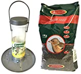 Supa Niger Wild Bird Seed Feeder & Johnston & Jeff Niger Seeds 1 kg Bundle (1 kg Seed Feeder with Tray)