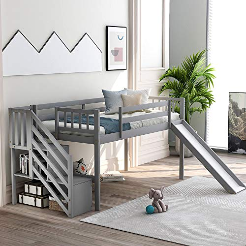 Low Loft Beds with Slide, Rockjame Solid Wood Twin Bed Frame with Staircase, Safety Guard Rail and Storage for Kids and Young Teens (Gray)