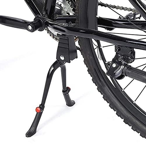 Soporte para bicicleta de 2 piezas, soporte central, pata doble, altura ajustable, aluminio, para MTB de 24 a 28 pulgadas, bicicleta de carretera, bicicleta de ciudad ( Color : Black , Size : 2pcs )