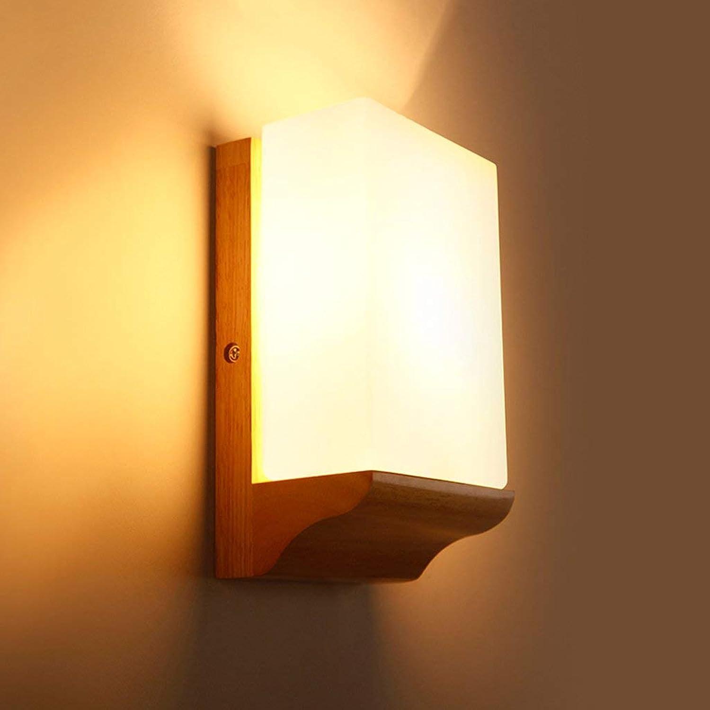 XHCP Wandleuchte Wandleuchten für Schlafzimmer - Moderne einfache Holz Schlafzimmer Licht Nachttischlampe kreative Beleuchtung