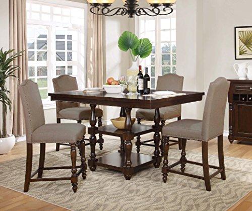 Best Master Furniture 5 Piece Mc Gregor Counter Walnut Dining Room Set
