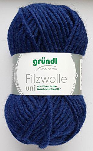 50 Gramm Filzwolle Uni Gründl Wolle aus 100 % Schurwolle (16 Marine)
