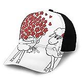 FULIYA Gorra de béisbol Hombres Mujeres Amante Cabras Manojo de Corazón Ramo de San Valentín Luna de Miel Boda Caricatura Gráfico Clásico Ajustable Llano Sombrero