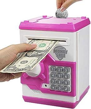 Elemusi Cartoon Electronic Password Mini ATM Piggy Bank Cash Coin Can Auto Scroll Paper Money Saving Box for Children Kids
