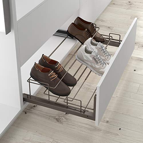 Casaenorden - Zapatero extraíble y Extensible para Instalar en un Frente de cajón para Armario con embellecedor, Ancho 450-650 mm, Acero café