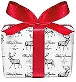 5er Set Weihnachts Geschenkpapier Bögen Hirsch weiß zu Weihnachten, Adventszeit, Weihnachtspapier für Weihnachtsgeschenke, Adventskalender, Format 50 x 70 cm