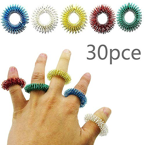For Sale! HZT-US 5 Color 30Pce Acupressure Ring Ring Massage Spring Finger Massage Ring Mini Finger ...