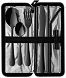 Portable Travel Utensils, Reusable Silverware with Case for Fixing Tableware, 9 Pieces Stainless Steel Stable Flatware Set, Camping Picnic Cutlery Set (Black Set)