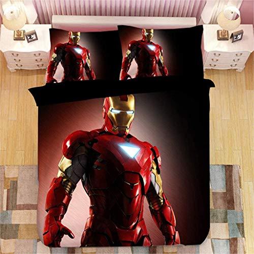 SSLLC Iron Man - Juego de cama de 2/3 piezas – Funda nórdica de Los Vengadores con diseño 3D – Funda nórdica para niños con cremallera – (A04 x 210 cm)