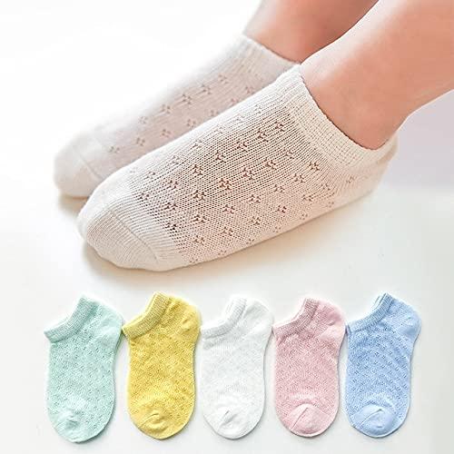 5 par/Lote de Calcetines de algodón para niños, niñas y bebés, Calcetines de Malla sólida Transpirables a la Moda ultrafinos para Verano 1-12T, Adolescentes, niños-a102-XL (9-12 Years)