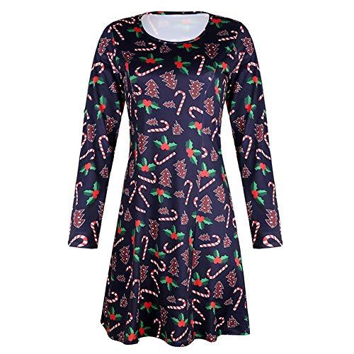La primavera y el otoño de la moda de las mujeres de la falda corta popular de la serie de Navidad de impresión de manga larga cuello redondo vestido