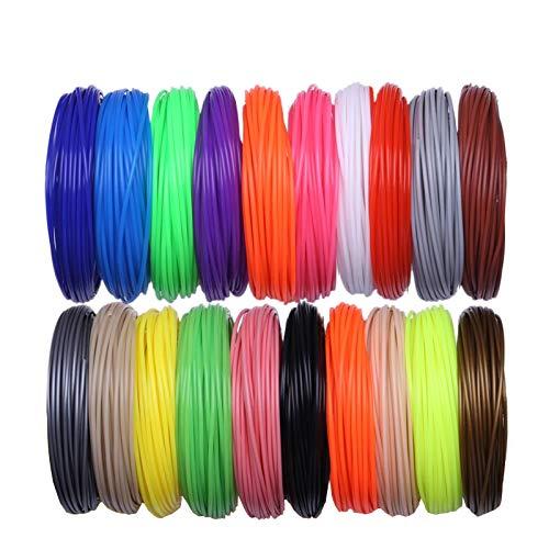 WZCXYX Filamentos De Impresora 3D 200 Metros 20 Colores Pluma De Impresión 3D Hilos De Plástico Alambre 1,75 Mm Consumibles De...