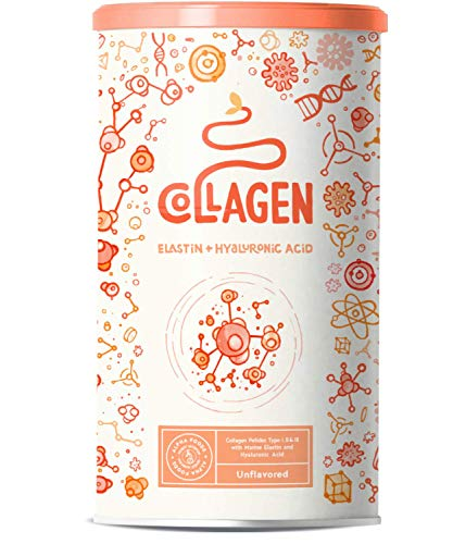 Collagen mit Elastin und Hyaluronsäure | Kollagen Hydrolysat Peptide Type I, II und III | Ohne Zusatzstoffe | Geschmacksneutral | 450 Gramm