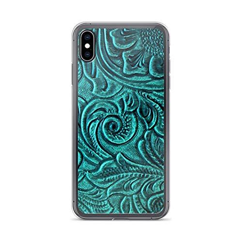Funda de piel con diseño floral en relieve turquesa compatible con iPhone (XR)