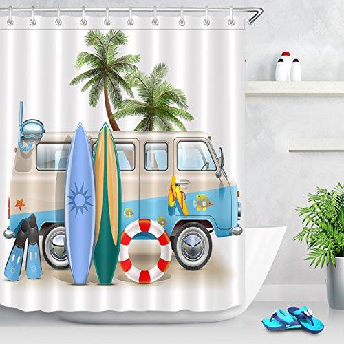 LB RV Surf Board Flip Flop Palm Tree Sand Beach Scuba Shower Curtain Set for Bathrooms, Seaside Summer Holiday Themed Curtain, 59 W x 70 L Shower Window Curtain Waterproof