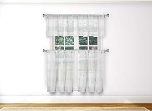 Home Maison - Loretta Semi Sheer Faux Linen Striped Kitchen Tier & Valance Set | Small Window Curtain for Cafe, Bath, Laun...
