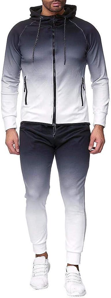 FORUU Men's Tracksuit Clearance, Comfy Soft Camo Print Zipper Sweatshirt Hooded Top Pants Set Sports Suit Activewear